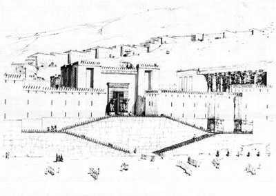 طرح کلی بازسازی پلکان بزرگ ورودی دروازه خشایارشاه - دروازه ملل