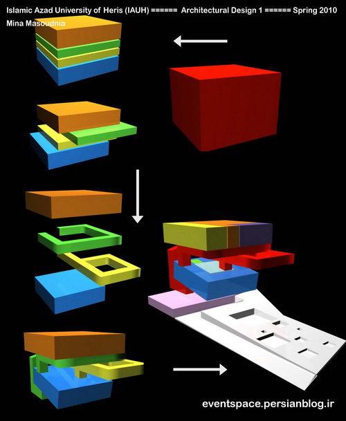 دانشگاه آزاد هریس - طرح معماری 1 - طراحی یک خانه فرهنگ - مینا مسعودنیا