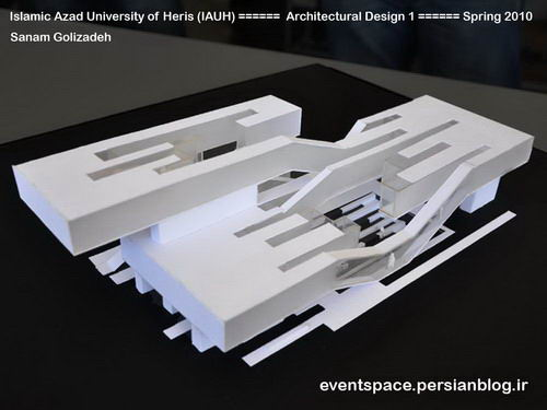 دانشگاه آزاد هریس - طرح معماری 1 - طراحی یک خانه فرهنگ - صنم قلیزاده